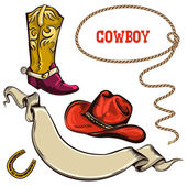 Cowboy american objects — Stock Vector