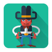 Cowboy with guns.Vector flat style icon — Stock Vector