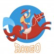 Rodeo.Cowboy on horse — Stock Vector