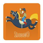 Rodeo icon.cowboy ata — Stok Vektör