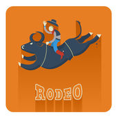 Rodeo icon.Man riding a bull  — Stock Vector