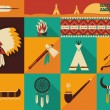 Native Americans icons.Vector flat design — Stock Vector