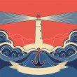 Lighthouse label with anchor and blue sea waves — Wektor stockowy