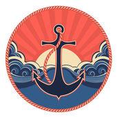Etiqueta náutica com âncora e mar de ondas — Vetor de Stock