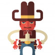 Cowboy with guns.Vector isolated on white — Stock Vector