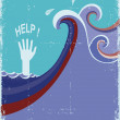 Hand of drowning in blue sea waves. — Stock Vector #43407407