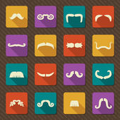Set of mustaches .Vector retro icons — Stock Vector
