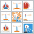 Lighthouse colors icons. — Wektor stockowy  #44538381
