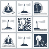Lighthouse icons. — Stock Vector