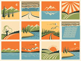 Nature landscape icons.Vector set of symbols — Stock Vector