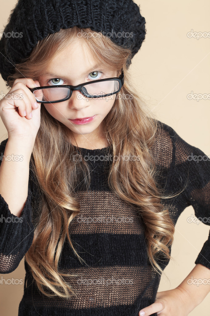Portrait of fashion child studio shot — Stock Photo #12834915