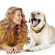 Girl with her dog — Stock Photo #16834483