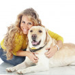 Girl with her dog — Stock Photo #16834493