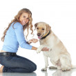 Girl with her dog — Stock Photo #18728565