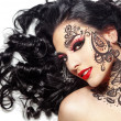 Beautiful girl with body art — Stock Photo