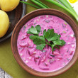 Cold beet soup - Stock Photo
