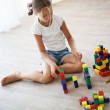 Child playing with blocks — Stock Photo