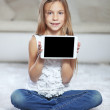 Child playing on tablet pc — Stock Photo