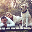 Couple with dog — Stock Photo #36006503