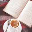 Tea and reading — Stockfoto
