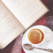 Tea and reading — Stok fotoğraf