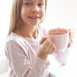 Child drinking cocoa — Stock Photo