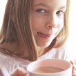 Child drinking cocoa — Stock Photo #40760465