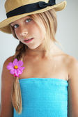 Girl with a flower — Stock Photo