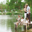 Family fishing — Stock Photo