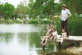 Family fishing — Stock Photo