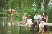 Family fishing — Zdjęcie stockowe