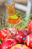 Painted Easter eggs, wooden rabbit — Stock Photo