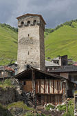 Svaneti tower on Caucasus mountain — Stock Photo