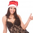 Beautiful girl in christmas cap — Stock Photo #1288129