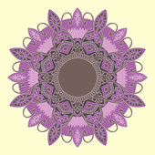 Ornamental round lace in ethnic style — Stock Vector