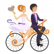 Couple in love on tandem bicycle - Stock Vector