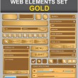 Web design elements set. Gold — Stock Vector