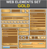 Web design elements set. Gold — Stock Vector