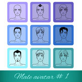 Set van negen mannelijke avatars, kan worden gebruikt op de website of het forum — Stockvector