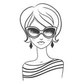 Fashionable girl in sunglasses. Drawn by hand — Wektor stockowy