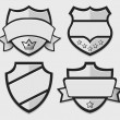 Set of silver vector retro badges — Stock Vector