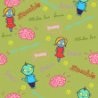 Funny seamless pattern with zombies and brain - Stok Vektör