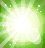 Green bright background with rays. — Stock Vector
