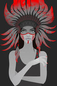 Beautiful girl in a headdress of feathers — Stock Vector