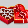 Red heart candy box — Stockvector