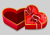 Empty red heart box — Stock Vector