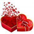 Red heart box with hearts — Stock Vector