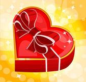 Kırmızı kalp kutu — Stok Vektör