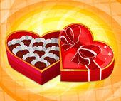 Red heart candy box — Stok Vektör