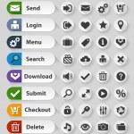 White web design buttons set — Stock Vector